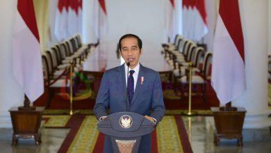 Presiden Jokowi saat menyampaikan sambutan melalui tayangan virtual dalam HUT ke-22 Partai Amanat Nasional